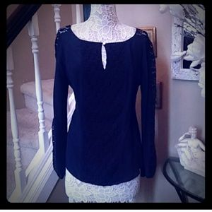 Tory Burch Navy lace cut-out blouse